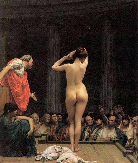 Detalle de Mercado de esclavos en Roma, Jean Leon Gerome, 1886.