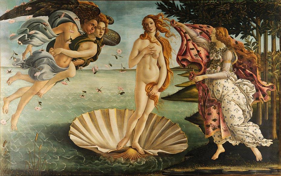 El nacimiento de Venus, Sandro Botticelli, 1486.