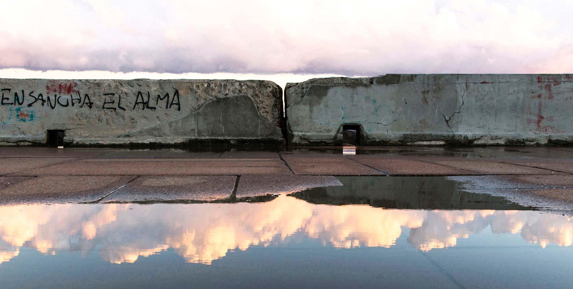 La rambla de Montevideo al atardecer