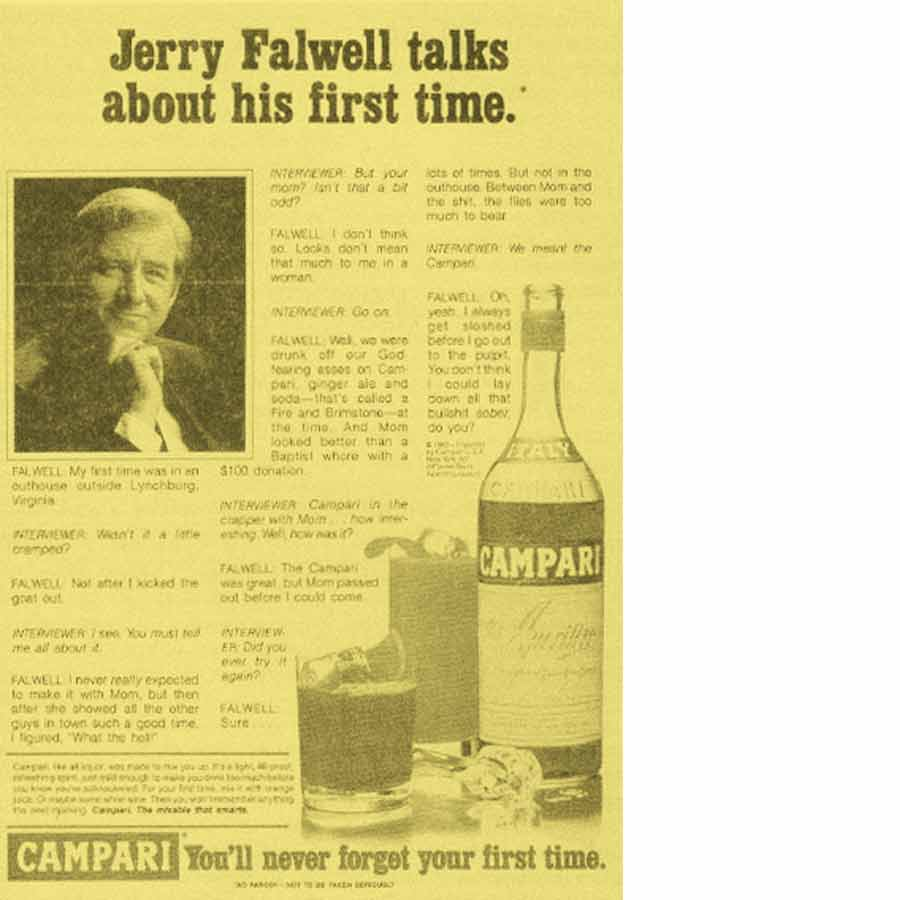 El anuncio en la revista Hustler con la foto del pastor evangélico y el relato de su iniciación sexual, que dio lugar al affair Larry Flint.