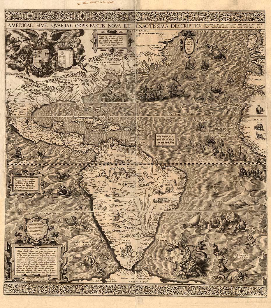 América del hemisferio occidental, 1562, Biblioteca del Congreso de Geografía y mapa División Washington.