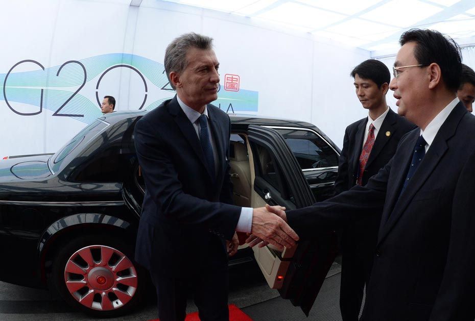 El Presidente Macri llegó a China para participar de la reunión del G20 (02/09/2016). Foto: DYN