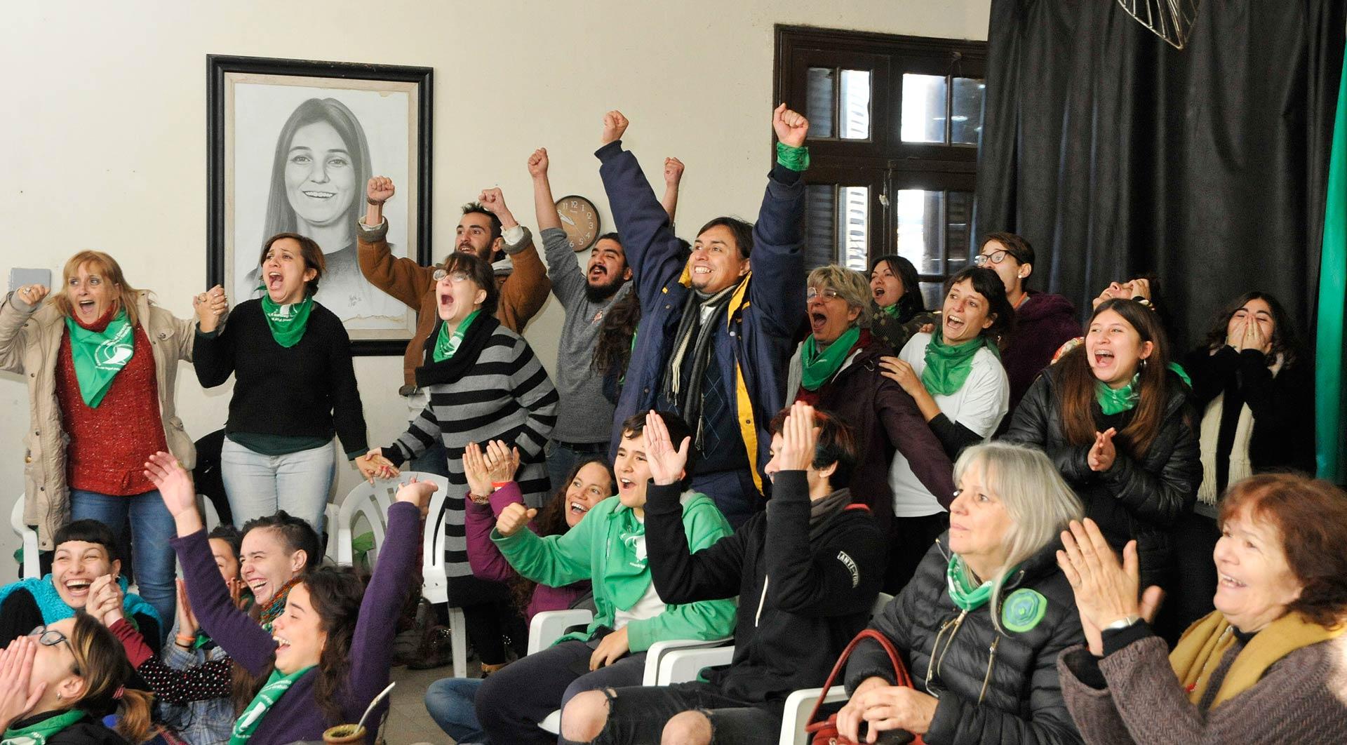 Momento del voto positivo a favor de la ley del Aborto Legal. Lugar Sipren