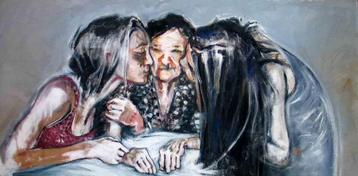 Abuela, cm 70 x 120 - acrylic on canvas 2005 by paolo Maini